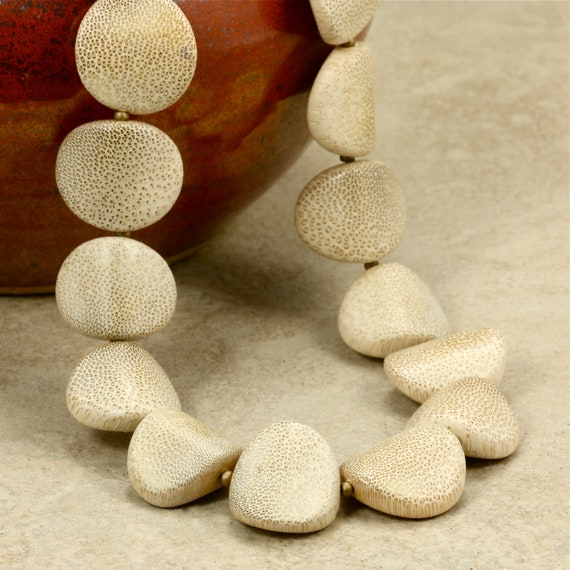 Ivory Oval Wood Bead Strand Necklace with Bronze Seed Beads, Chunky Necklace