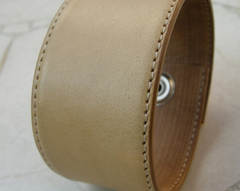 Mens Leather Wristband Cream Tone Tan Reclaimed Bracelet Cuff with Snap BRN-76-1