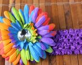 Multi-Color Rainbow Gerbera Crystal Daisy Flower Hairclip with Coordinating Crochet Headband
