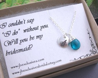 set of 7 bridesmaid gift set - personalized - sterling silver hand stamped monogram initial necklace with thank you card .. n100