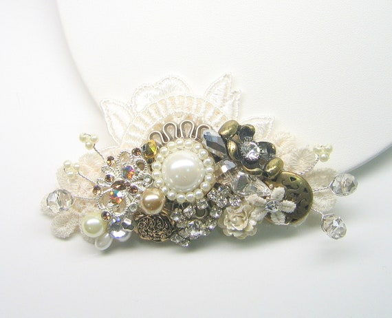Bridal Comb- Champagne, ivory, antique gold and lace. Vintage Inspired Hair Clip, Pearl Hair Accessories-  Wedding hairpiece