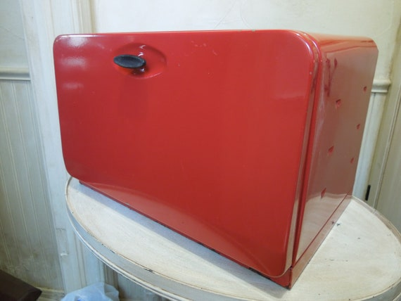 Vintage Metal Bread Box Retro Red Metal Bread Box Breadbox