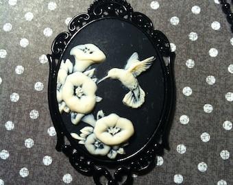 Black White Hummingbird Wedding Cameo Necklace Pendant Ball Chain