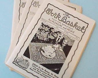 "3 Charming Vintage ""Work Basket"" Booklets with Patterns"