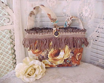 Charming Handbag Made of Vintage Fabrics and Trims-Golden Roses