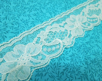 1 yard of 2 inch Ivory Chantilly lace trim for wedding, veils, bridal, housewares, couture by MarlenesAttic - Item VZ