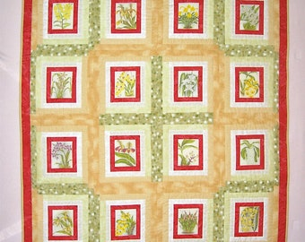 "Quilted Wallhanging ""Orchids""  Twin Size Quilt, Quilted Blanket, Quiltsy Handmade, Floral Quilt"