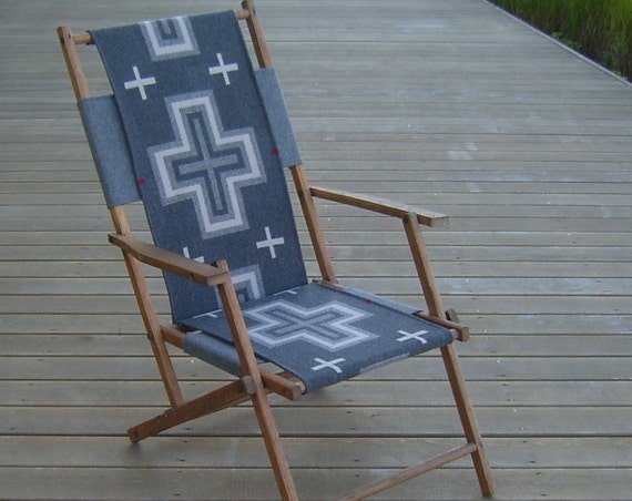 Vintage Oak Folding Deck Chair, Pendleton Wool Seat