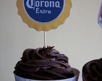Corona Extra Beer Cupcake Wrappers and Toppers