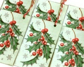 Vintage Style Christmas Tags Gift Retro Inspired Mint Green Holly Shabby Set of 6