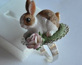 SALE Rabbit in the garden ring - Pet collection - handmade miniature polymer clay food jewelry one of a kind