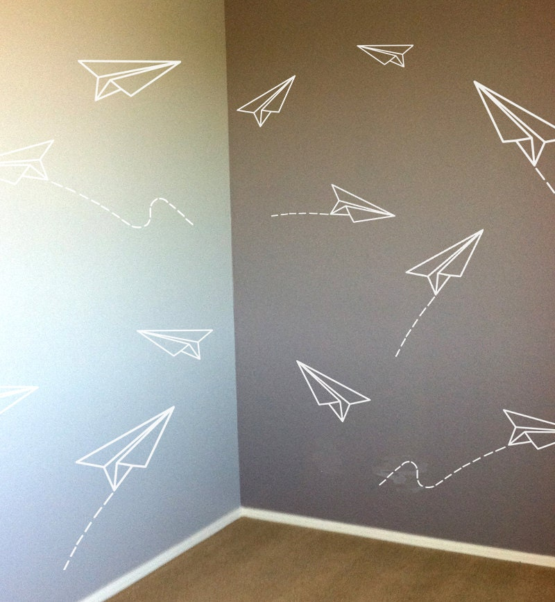 Paper Planes Vinyl Wall Decal Kids Room Stickers By Fabdecals