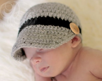 Crocheted Baby Boys Newsboy Hat Grey with Black Stripe 0 - 3 Months