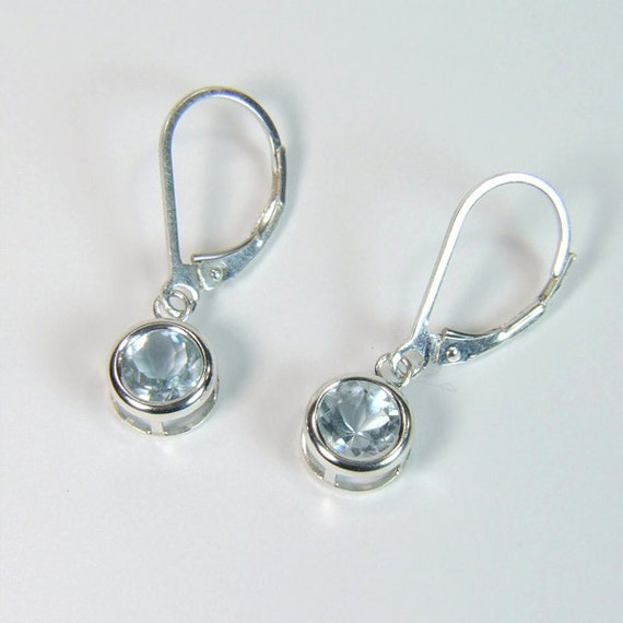 Eye-Clean Aquamarine, 6mm Round Cut, Sterling Silver Dangle Earrings