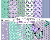 Lilac & Aqua Butterflies Digital Scrapbook Paper, Instant Download