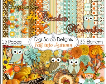 Fall into Autumn Owls Scrapbook Kit Owl Pumpkin Patch Digital Clip Art for Scrapbooking  Fall Colors, Fall Festival, Instant Download