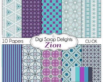 Zion Scrapbook Paper in Purple & Blue Patterned Papers for Digital Scrapbooking, Crafts, Web Design, Instand Download