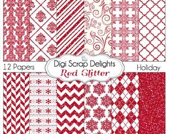 Red Glitter Digital Scrapbook  Papers Instant Download for Winter or Christmas Themes