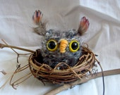 READY TO SHIP hand knit brown fuzzy owl in tiny grapevine nest tree ornament