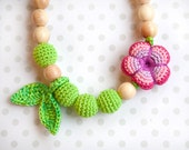 Nursing Breastfeeding necklace wit juniper - Easter spring teething toy - nursing jewellery - Wrap Baby Carrier Sling Accessory
