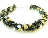 Silver, Gold and Black Kumihimo Bracelet