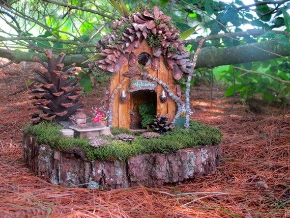 Pine Hollow a OOAK Outdoor Fairy Home