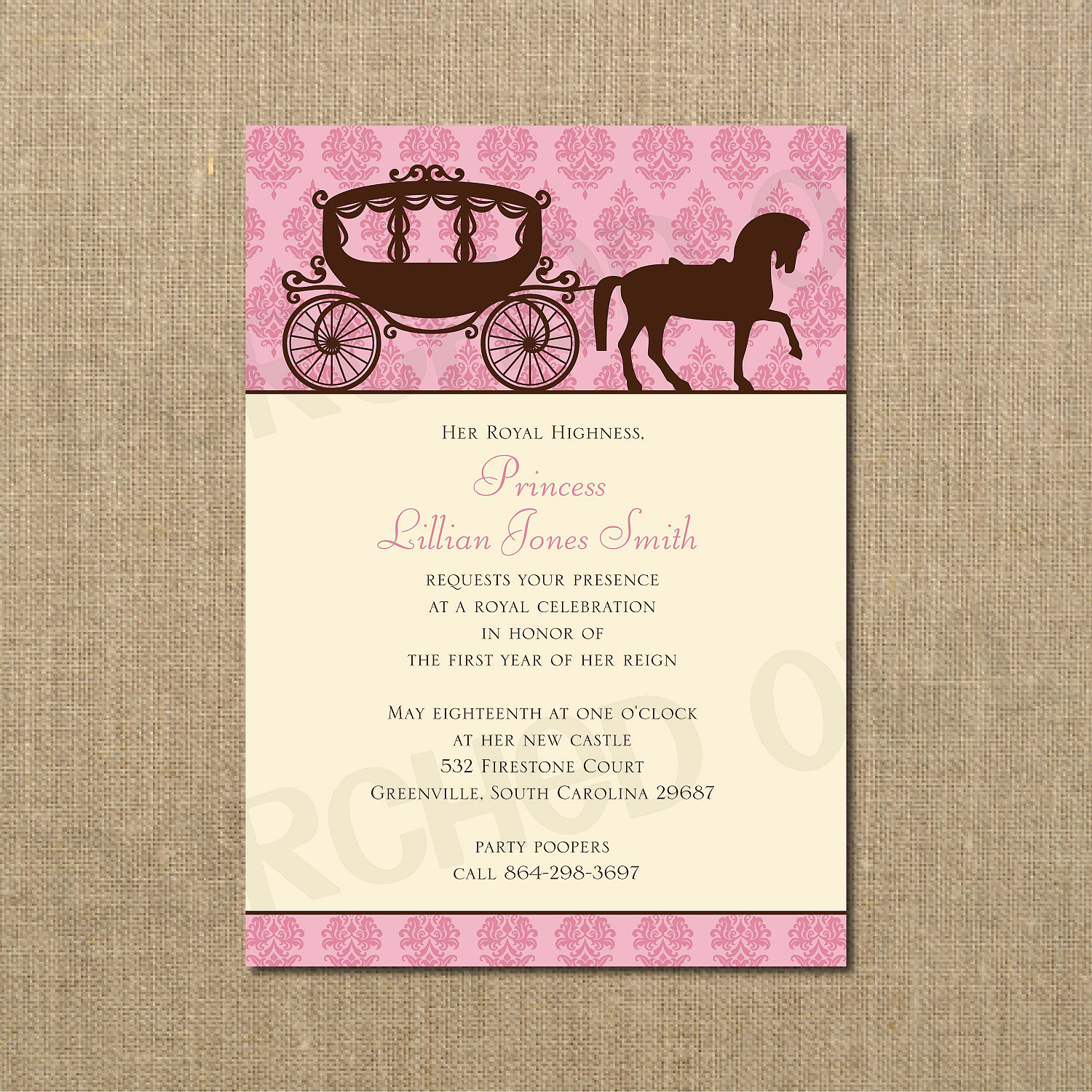 Her Royal Highness Princess Birthday Invitation Horse and