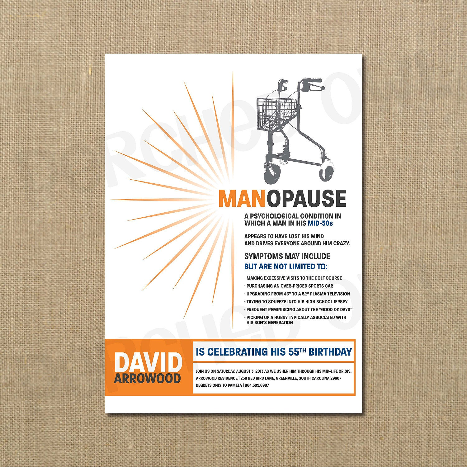 MANopause Birthday Invitation Men Dad Husband Over The