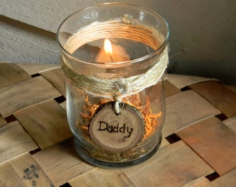 Rustic Wedding Personalized Remembrance Candle Holder Votive with Wooden Engraved Tag