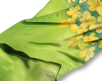 Hand painted silk scarf. Golden flowers of the meadow. Green, light green, yellow.