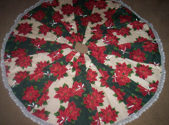 Sale poinsettia christmas tree skirt by danlinsattic on etsy