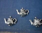 """10 pcs Antique Silver """"Tea Time"""" Tea Pot Teapot  (SC730)"""