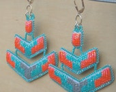Coral, Gray, and Turquoise Chevron Beaded Earrings