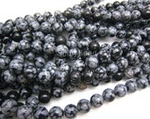 snowflake obsidian round bead 8mm 15inch strand