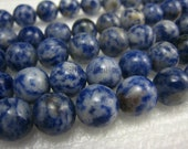 blue spot round bead 12mm 15 inches strand
