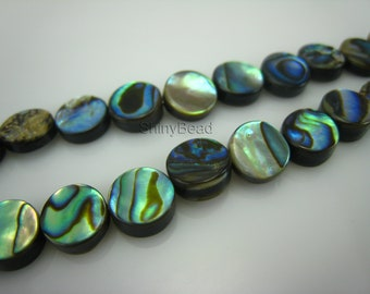 abalone shell flat coin bead 8mm 15 inch strand