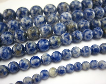 blue spot round bead 4mm 15 inch strand