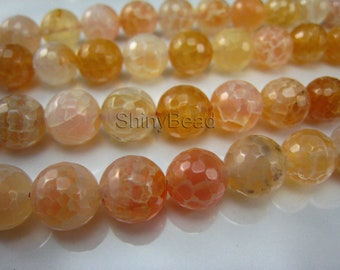 cracked agate faceted round 10mm 15 inch strand