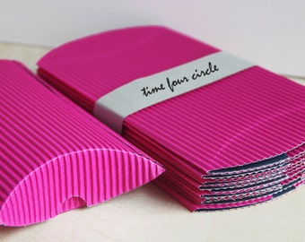 Set of 5, Neon Pink Strip Pillow Boxes, Favor, Gift, Party