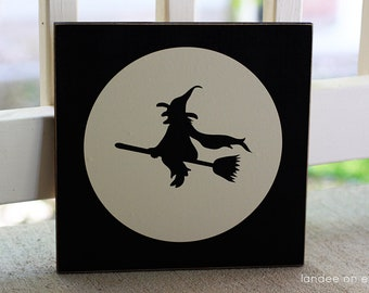 Flying Witch Decorative Halloween Sign