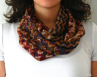Brown and Red Chevron Zig Zag Print Infinity Scarf