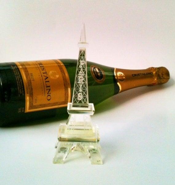 Vintage Eiffel Tower Statue Cut Crystal Glass Souvenir of Paris France