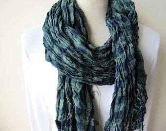 scarves  emerald green navy blue washed crinkle plaid scarf - Man fashion-mad-mens scarves2012