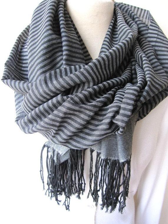 turkey turkish scarf gray grey black stripe by