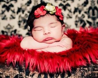 Triple Hydrangea Couture Flower Headband Newborn Photography Prop Infant Headband