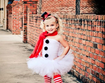 Miss Frosty the Snowman Tutu Outfit Christmas Tutu Set Christmas Pictures Photography Props Christmas Tutu