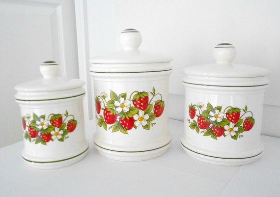 Items similar to canisters strawberry kitchen decor set of for Kitchen decor items