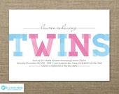 Twins Baby Shower - Twins Baby Shower Invitation - Twins Invitation -  Printable Baby Shower - Twins Printable - Pink and Blue - Boy - Girl