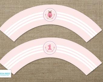 Pink Ladybug Printable - Ladybug Cupcake Wrappers - Ladybug Birthday - First Birthday - bug - flowers - Pink - polka dots