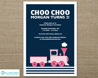 Train Invitation - Girl - Train Printable -Train Birthday - Choo Choo - Girl Birthday - Printable party - First Birthday - Navy - Pink